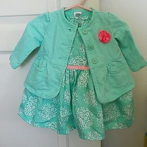Carter's mint green dress with cardigan